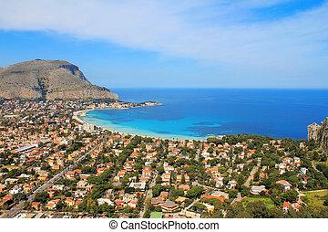 Mondello - Panoramic view of the mondello's gulf. Palerm,...