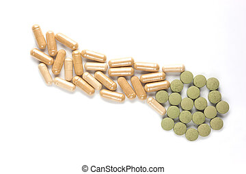 Pill and capsul drugs improve a penis and testicles isolated...