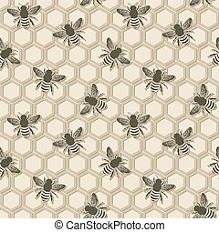 bee honeycomb pattern - vector illustration eps 8