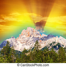 Sunset view from Dolomiti di Sesto or Sextener Dolomiten -...
