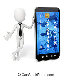 3d man, smart phone and credit card, online commerce concept
