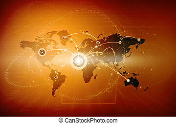 Global networking. Internet Concept of global business,...