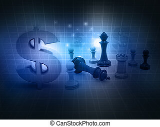 chess game and dollar sign on abstract background