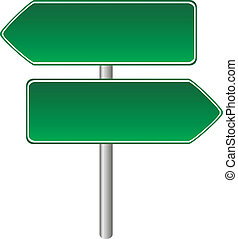Blank green road sign