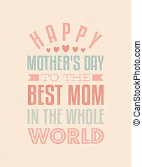 Mothers Day Greeting Card - Typographic design greeting card...