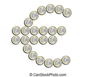 Euro symbol made of coins on a white background