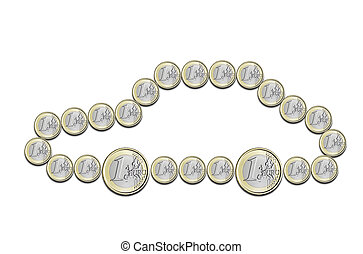 euro coins in the shape of a car on a white background