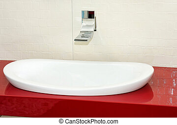 Red wash basin - Big oval wash basin with red furniture