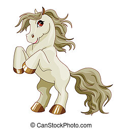 gray pony on a white background isolated