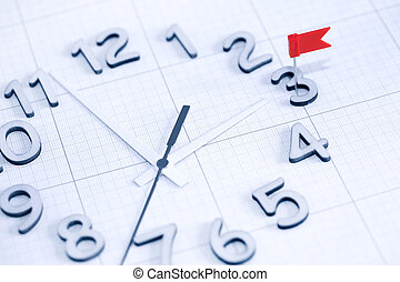 Deadline Concept - Deadline concept Clock face with red flag...