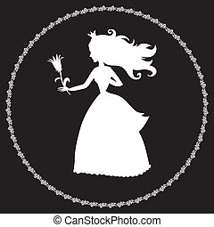 princess silhouette with a flower