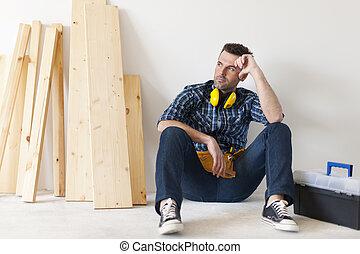 Carpenter relaxing after work