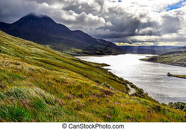 Scenic view of the lake and mountains, Inverpolly, Scotland,...