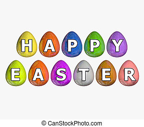 Happy easter isolated on white background