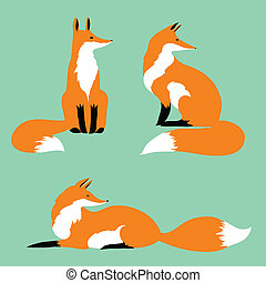 three red foxes on a blue background