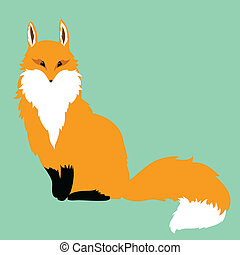 red fox on a blue background