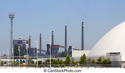 chimneys of a modern factory