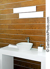 Wooden lavatory - Interior of modern lavatory with wooden...