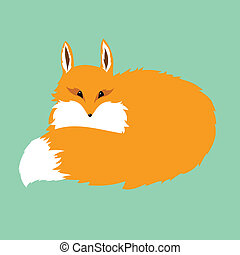 fluffy red fox on a blue background