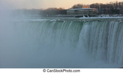 Horseshoe Falls-Niagara Falls with power plant