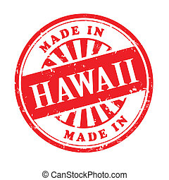 made in Hawaii grunge rubber stamp - illustration of grunge...