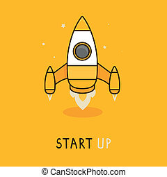 Vector launch icon in flat style - space rocket icon - new...