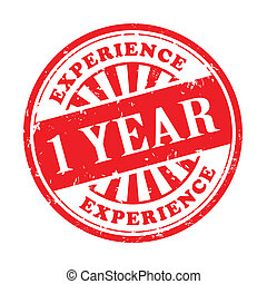 1 year experience grunge rubber stamp - illustration of...