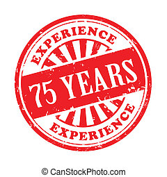 75 years experience grunge rubber stamp - illustration of...
