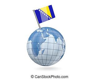 Globe with flag of bosnia and herzegovina - Blue globe with...