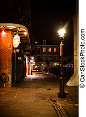 French Quarter at Night - French Quarter laneway at night in...