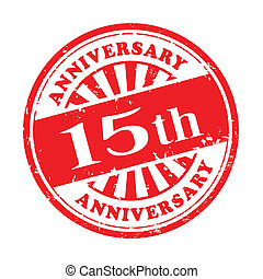 15th anniversary grunge rubber stamp - illustration of...