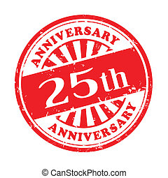 25th anniversary grunge rubber stamp - illustration of...