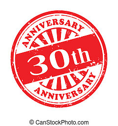30th anniversary grunge rubber stamp - illustration of...