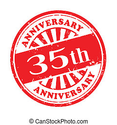 35th anniversary grunge rubber stamp - illustration of...