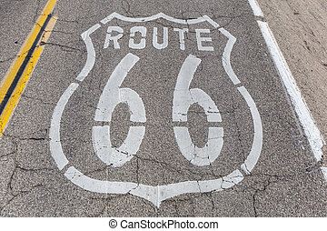 Route 66 Pavement - Old US Route 66 pavement sign deep...