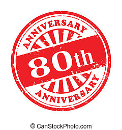 80th anniversary grunge rubber stamp - illustration of...