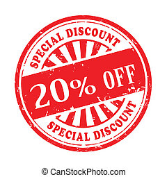 20 percent off grunge rubber stamp