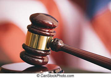 USA judgement - Gavel and american flag, symbol for...