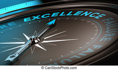 Excellence Concept, Quality Service - Compass with focus on...