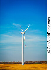 Rolling wind turbine in summer time