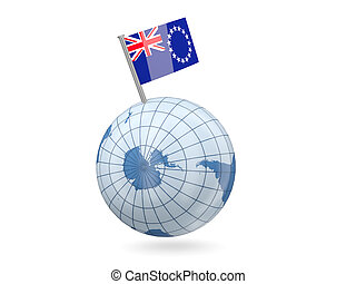 Globe with flag of cook islands - Blue globe with flag of...