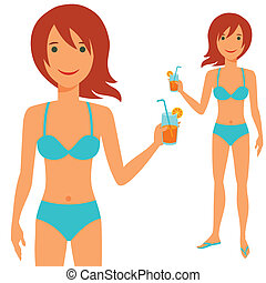 Illustration of young cute girl in swimsuit.