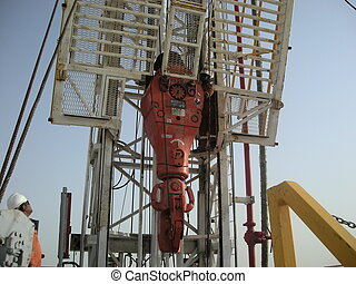 oil rig in Qatar - drilling in the Qatar desert.
