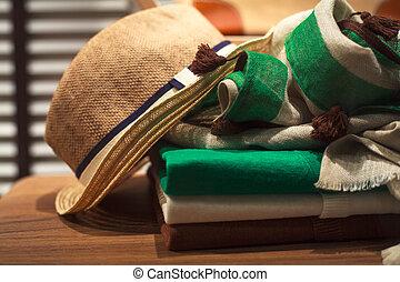 sombrero, bufanda, hombre, ropa