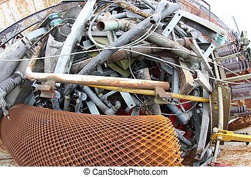 scrap iron in a controlled landfill for recycling bulky...