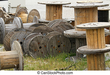wooden reels deposit for electric cable - huge wooden reels...