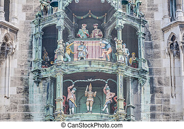 Neues Rathaus carillion in Munich, Germany - The City-Hall...