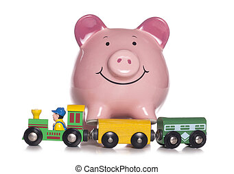 Childrens toy with piggy bank studio cutout