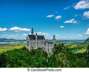 Neuschwanstein - Bavarian castle Neuschwanstein in the Alps