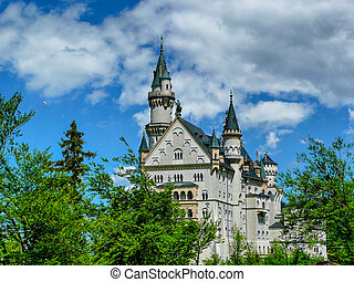 Neuschwanstein - Bavarian castle Neuschwanstein in the Alps